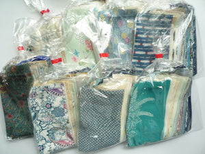 Blue Kimono Japanese Silk Remnants Set Grab Bag