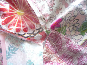 Japanese Vintage Fabric Set Pink Grab Bag
