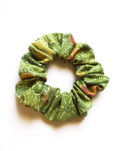 Load image into Gallery viewer, Green Recycled Silk Kimono Scrunchie