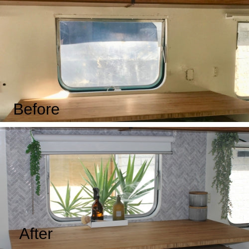 Before and after of caravan splashback from plain to grey marble chevron peel & stick tiles