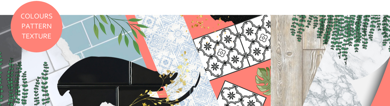 mood board illustration with subway tiles, floor tiles, wallpaper and vinyl in various colours, pattens and textures