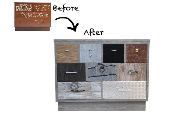 upcycled drawers with different vinyl on each drawer front