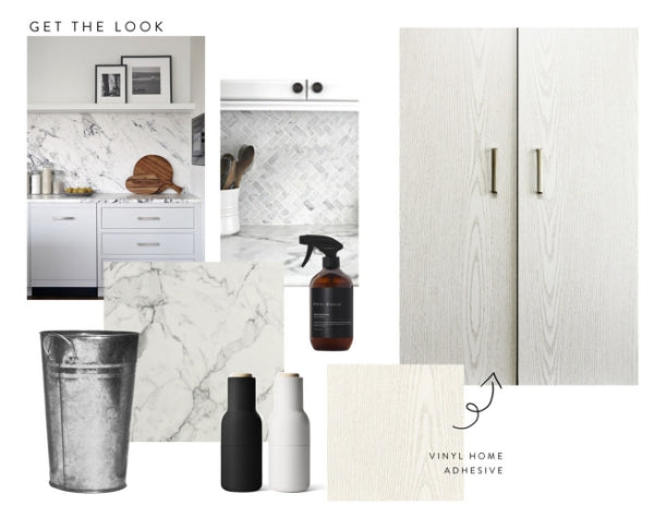 mood board of pearlwood white and marble grey kitchen