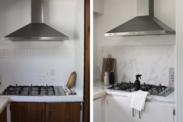 before and after photo of kitchen wrapped in pearlwood white and grey marble vinyl