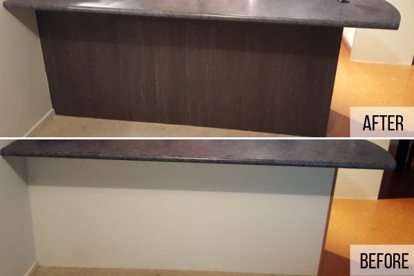 Kitchen island panel before and after wrapped in Sheffield Oak Umbra vinyl