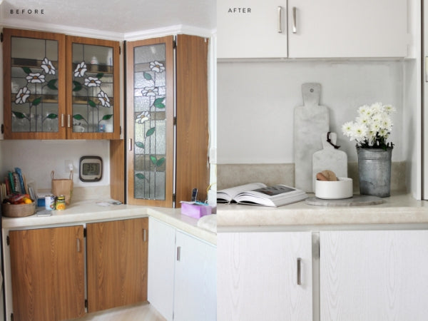 before and after photo of kitchen wrapped in pearlwood white vinyl