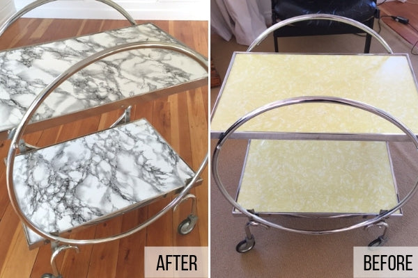 bar trolley in marble vinyl before and after photo
