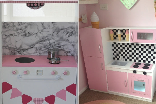 upcycled play kitchen in pink and marble sticky back vinyl