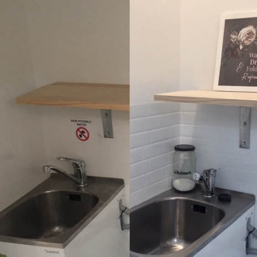 Metro Blanco Self-adhesive Tiles before and after in laundry