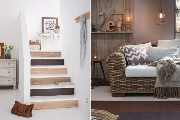 stairs and walls covered in assorted wood grain vinyl