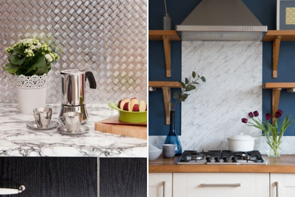 Two backspashes wrapped in vinyl, chequered plate to the left and carrara grey marble to the right