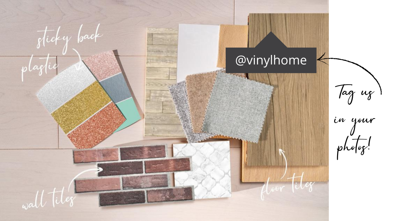 moodboard of vinyl samples showing how to tag Vinyl Home in photos on social media