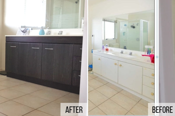 Vanity before and after vinyl application with Sheffield oak umbra