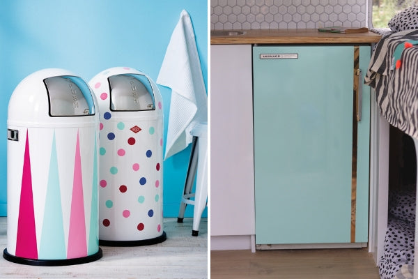 vinyl wrapped fridge in mint and rubbish bins with decals