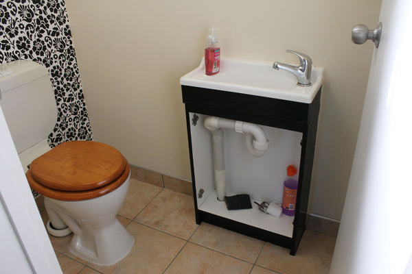 small guest toilet with vanity without doors at the front