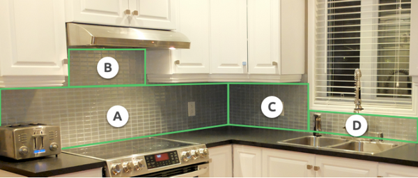 Splash back split in to 4 sections showing how to calculate tile quantity