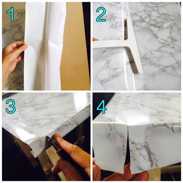 marble vinyl application of table top instructions 1-4