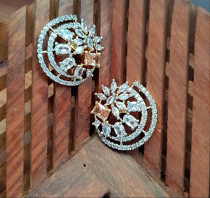 Semi Crescent -  American Diamond Studs