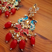 Load image into Gallery viewer, Light weight red beads danglings with Meenakari work