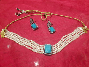 Pearl firozi necklace set