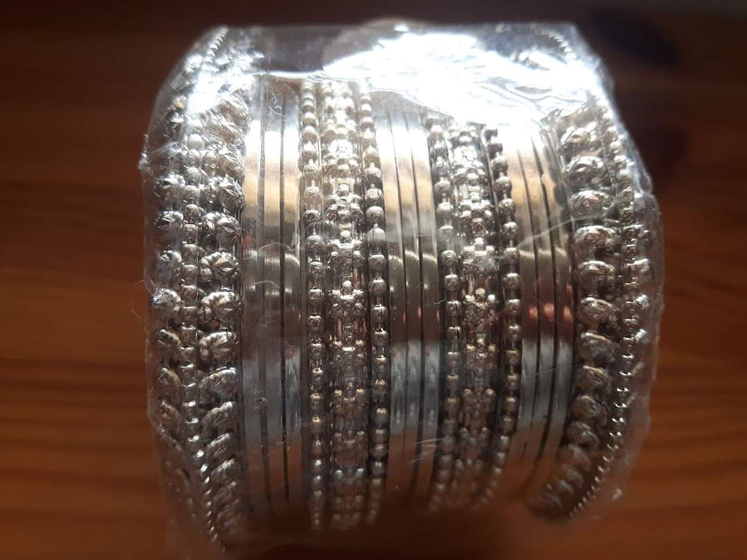 Silver Oxidised Bangles set