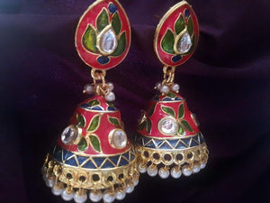 Cute Red Meenakari Jhumkas