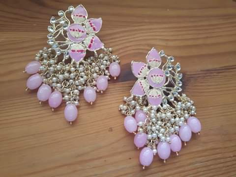 Meenakari pink Jhallar earrings