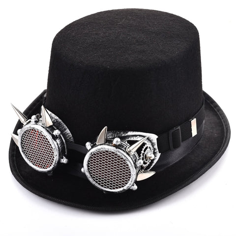Steampunk Hat Spikes Glasses Top Fedora Hat