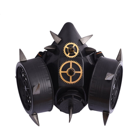 Steampunk Black Devil Horns Spikes Mask Respirator Goth Cosplay Rivets Masks Party Halloween Accessories Punk