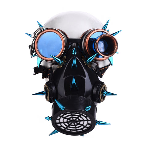 Steampunk Blue Rivet Goggles Gas Mask