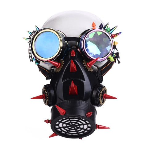 Steampunk Red Multi-Color Punk Rivets Glasses and Gear Mask