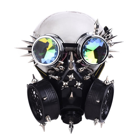 Steampunk Fully-Studed Mask with Rivet Goggles