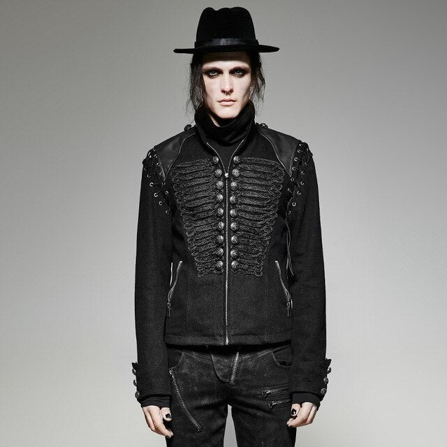 Steampunk Men Black Rugged Denim Fabric Removable Sleeves Short Jacket