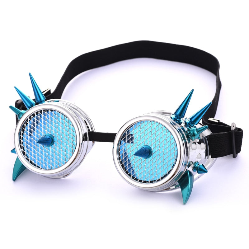 Blue Glass Round Mesh Goggles Steampunk