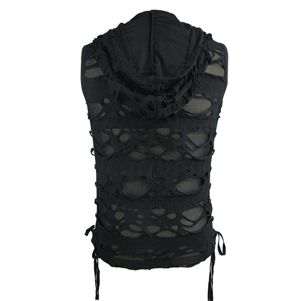 Steampunk Mens Vests Hole See Through Straps Side Vest Black Sleeveless Summer Top