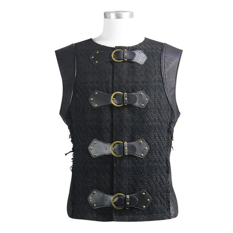 Steampunk  Mens T-Shirt Leather Patchwork