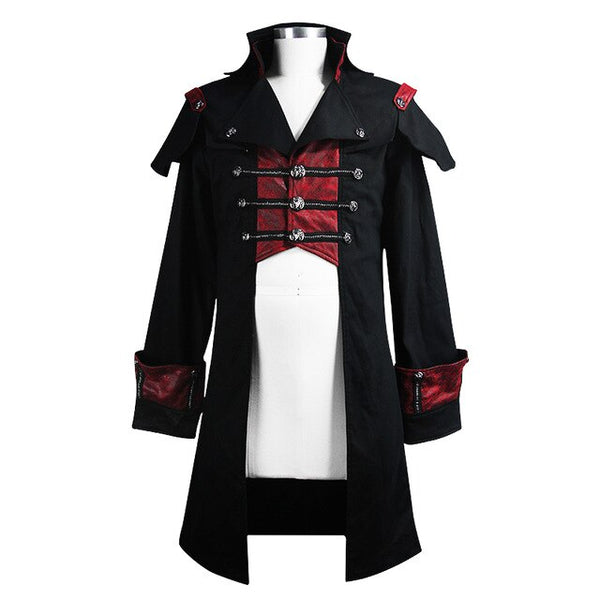 Devil Fashion Steampunk Style Black and Red Jacket