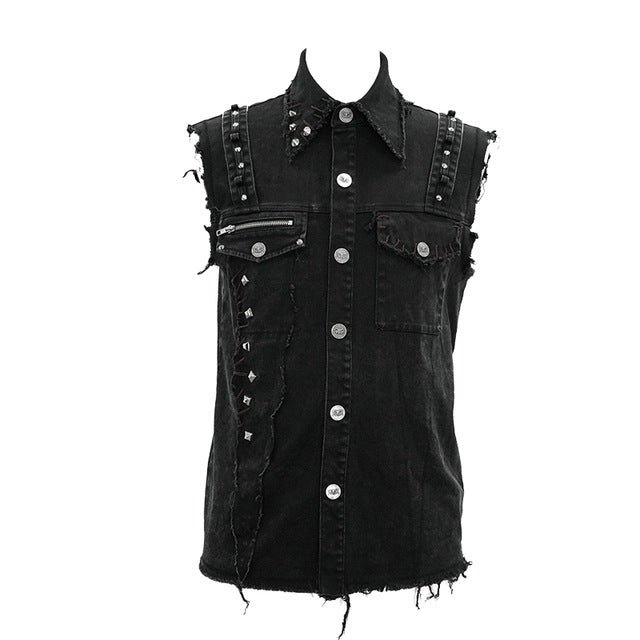Steampunk Punk Black Vest Men Rivets Pockets Sleeveless Jacket