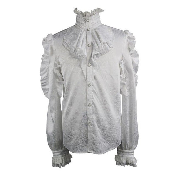Men's Gothic Steampunk Long Sleeve High-Necked Ruffle T Shirts