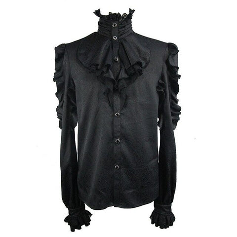 Men's Gothic Steampunk Long Sleeve High-Necked Black Ruffle T Shirts