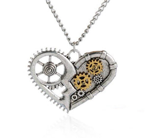 Antique Silver Heart With Hollowed Gears Steampunk Pendant