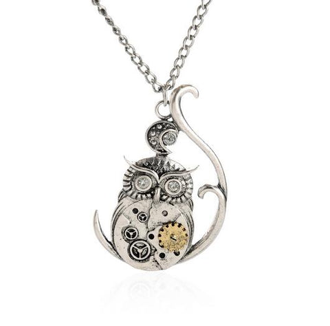 Long Antique Silver Owl Moving Pendant Steampunk Necklace