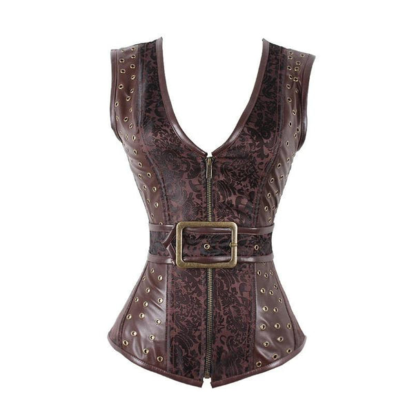 Brown Steampunk Corset Gothic Clothing