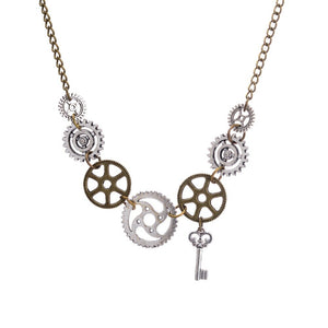 Brass and Antique Silver Gears Vintage Steampunk Necklace