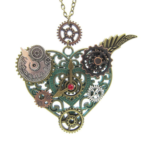 Heart Pendant with Various Gears Mechanical Steampunk Necklace