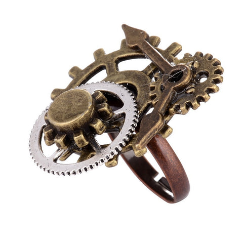 Surface Different Gear Components and Clock Pointer Steampunk Ring