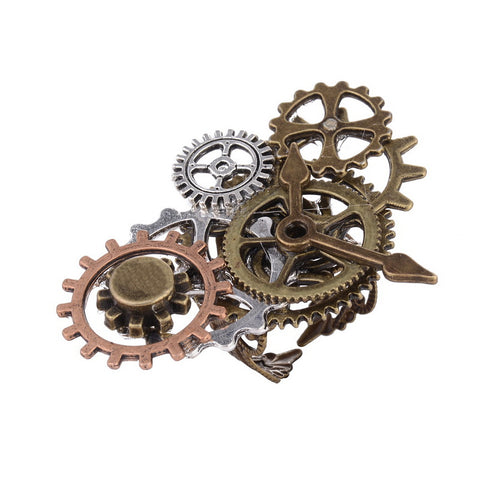 Industrial Stage Various Gear Parts Overlayed with Clock Pointer Steampunk Ring
