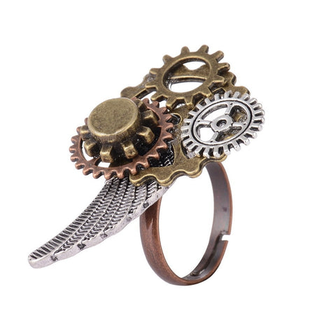 Various Gears and Wing Combined Mechancal Gears Steampunk Ring