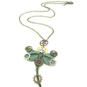 Green Ox Dragonfly Pendant Steampunk Necklace