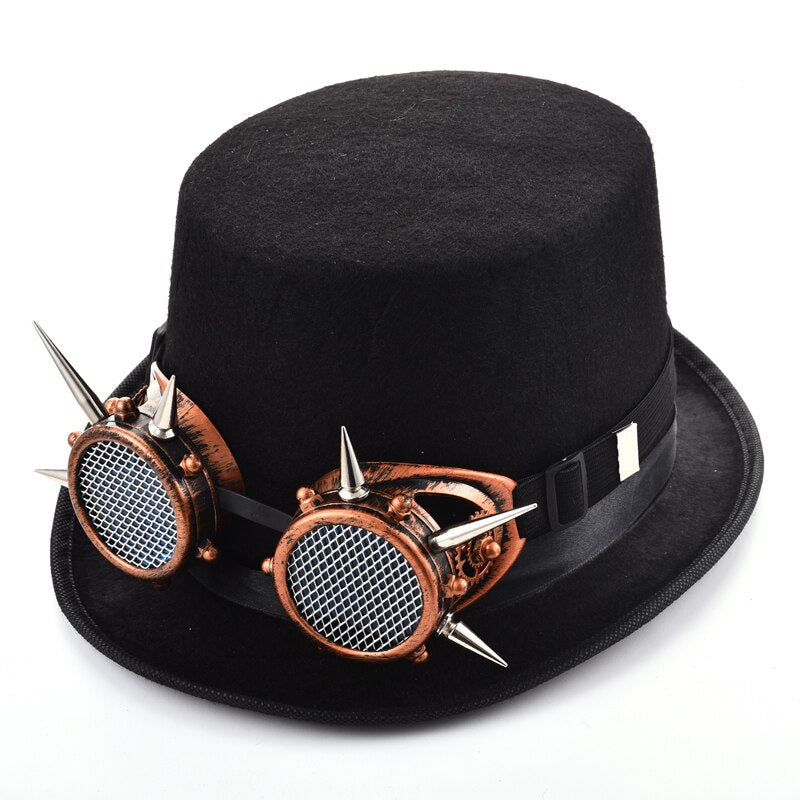 Retro Steampunk Top Hat With Rivets Glasses